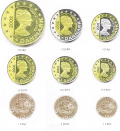 Images of all 9 Danish Euro Pattern Coins